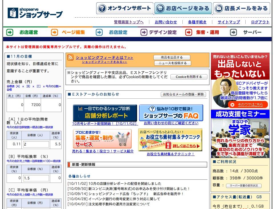 ショップサーブ管理画面